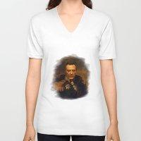 christopher walken V-neck T-shirts featuring Christopher Walken - replaceface by replaceface