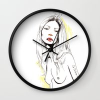 kate moss Wall Clocks featuring Moss by Lizzy Mailho