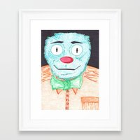 muppet Framed Art Prints featuring Blue Muppet by Steven Hanna