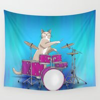 drums Wall Tapestries featuring Cat Playing Drums - Blue by Ornaart
