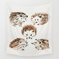 furry Wall Tapestries featuring Hedgehogs by Cat Coquillette