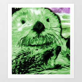 Green Sea Otter Art Print
