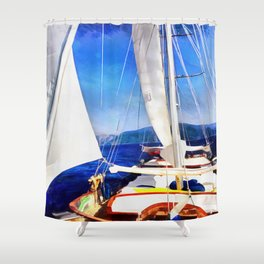 Land Was Created For Boats To Visit Shower Curtain