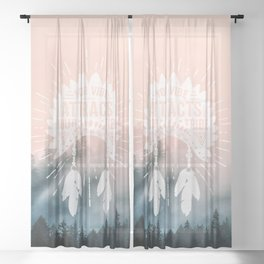 Your Vibe Attracts Your Tribe - Forest Fog Pink Sheer Curtain