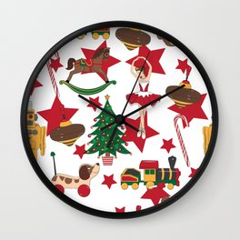 Christmas toys pattern Wall Clock