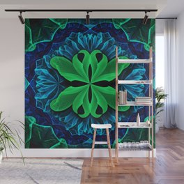 In the Deep Blue Lily Pad Dreams of a Green Man Wall Mural