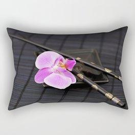 Zen pink Orchid flower on black Rectangular Pillow