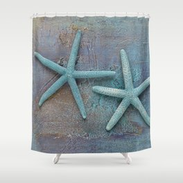 Turquoise Starfish on textured Background Shower Curtain
