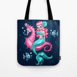 Mysterious Mermaid on Deep Blue Tote Bag