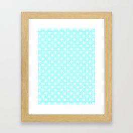 Small Polka Dots - White on Celeste Cyan Framed Art Print
