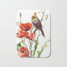 Cardinal Bird And Poppy Flowers Bath Mat