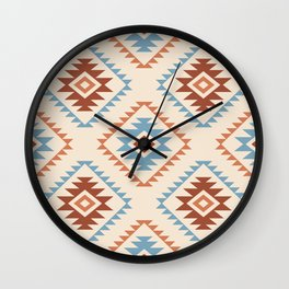 Aztec Style Motif Pattern Blue Cream Terracottas Wall Clock