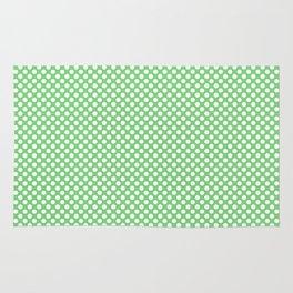 Summer Green and White Polka Dots Rug