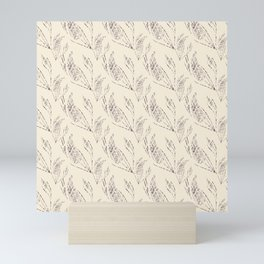 Simple floral pattern with a beige background. Mini Art Print