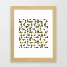 Party Sloth Framed Art Print