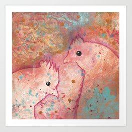 Two Chickens - Bakaark! Art Print
