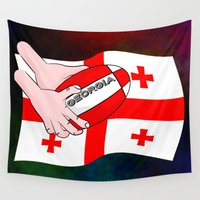 georgia Wall Tapestries featuring Rugby Georgia Flag by mailboxdisco