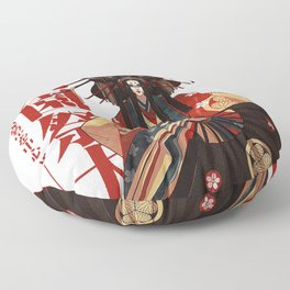 Japanese Geisha Fine Art Illustration Kanji Pattern Ornament  Floor Pillow