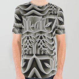 Exo-skelton 3D Optical Illusion All Over Graphic Tee