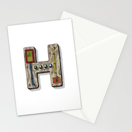 MACHINE LETTERS - H Stationery Cards