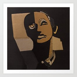 male portrait in cardboard collage Art Print