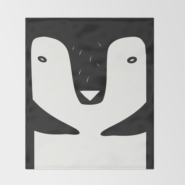 nordic penguin b/n Throw Blanket