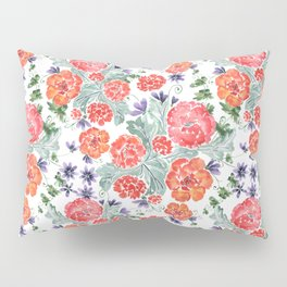 Floral pattern. Red, purple flowers on white. Pillow Sham