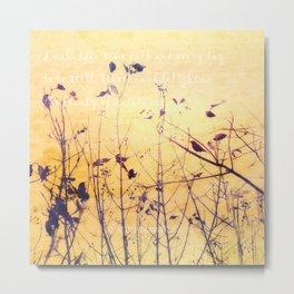 Yellow Minimalist Bird and Branches Metal Print