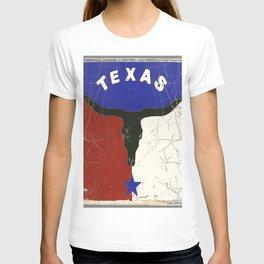 Texas State Flag Longhorn Antique Style Pattern Art T-shirt
