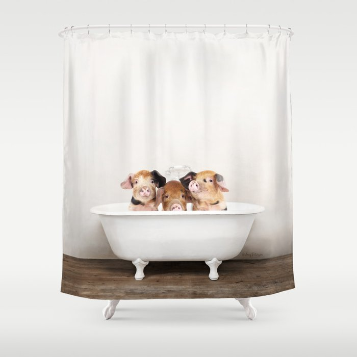 3 Little Pigs in a Vintage Bathtub Rustic Bath Style (c) Shower Curtain