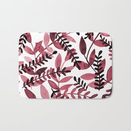 Watercolor branches - red Bath Mat