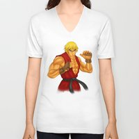 street fighter V-neck T-shirts featuring Ken Street Fighter by jasonarts