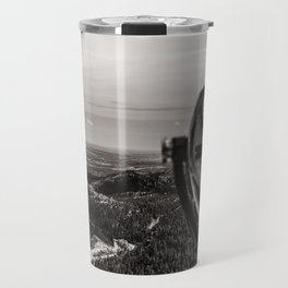 Mountain Tourist Binoculars Black and White Travel Mug