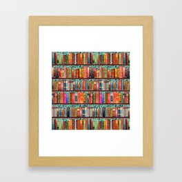 Vintage Books / Christmas bookshelf & holly wallpaper / holidays, holly, bookworm,  bibliophile Framed Art Print