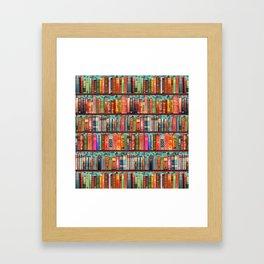 Vintage Books / Christmas bookshelf & holly wallpaper / holidays, holly, bookworm,  bibliophile Framed Art Print