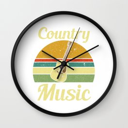 "Nice Retro Vintage Music Shirt For Country Boys Man Saying ""Country Music"" T-shirt Design Wall Clock"