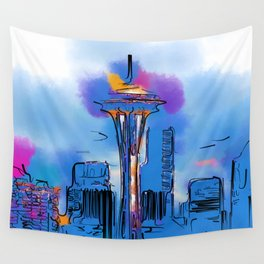 The Space Needle In Soft Abstract Wall Tapestry