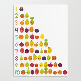 numbers for preschool kindergarten kids kawaii fruit from one to ten Poster