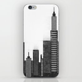 Modern City Buildings And Skyscrapers Sketch, New York Skyline, Wall Art Poster Decor, New York City iPhone Skin