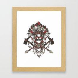 Red Indian Skull Framed Art Print