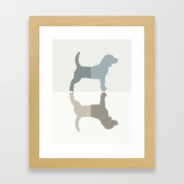 Beagle Silhouettes Pattern - Natural Colors Framed Art Print