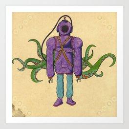 Purple Scuba Diver Art Print