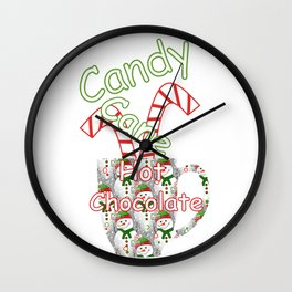 Candy Cane Hot Chocolate Wall Clock