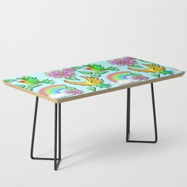 Birds Flowers and Rainbows Doodle Pattern Coffee Table