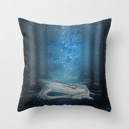 Awesome sleeping ice dragon Throw Pillow