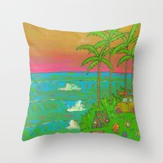 VW Beatle Bug Surf Paradise Adventure Throw Pillow