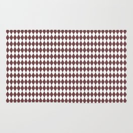 Pantone Red Pear Rippled Diamonds, Harlequin, Classic Rhombus Pattern Rug