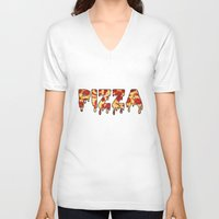pizza V-neck T-shirts featuring Pizza... by radoverlays