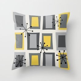 Mid Century Modern Art 'Wonky Doors' Yellow Gray Throw Pillow
