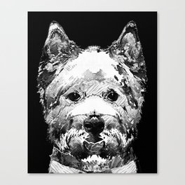 Black And White West Highland Terrier Dog Art Sharon Cummings Canvas Print